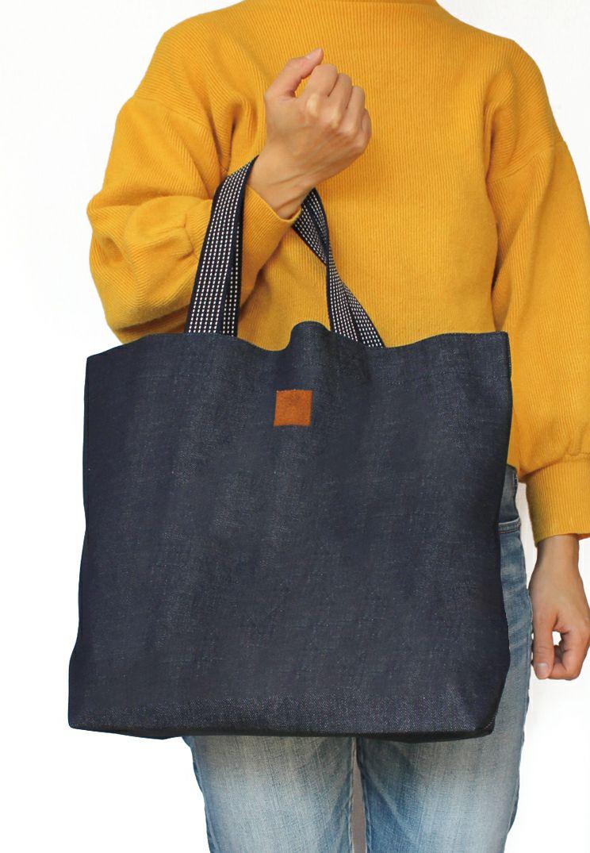 インディゴ横長バッグ 倉敷デニムを使用した使いやすいトートバッグです